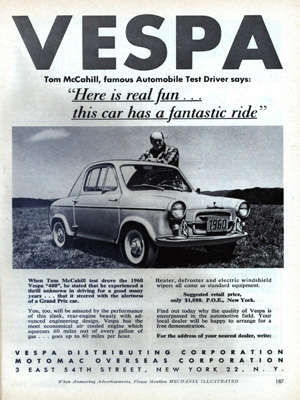 Advertising Vespa 400 in the US