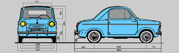 Vespa 400 body dimensions and layout